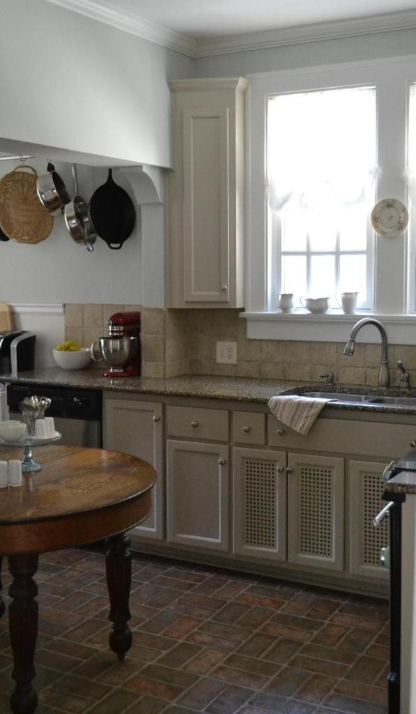 Cottage Fix - kitchen with new silvery blue wall paint