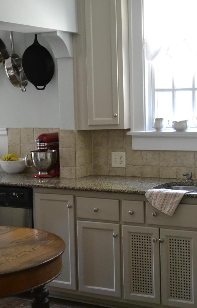 Cottage Fix - silvery blue and taupe kithen