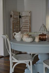 Cottage Fix- dining table silvery blue before it was distressed