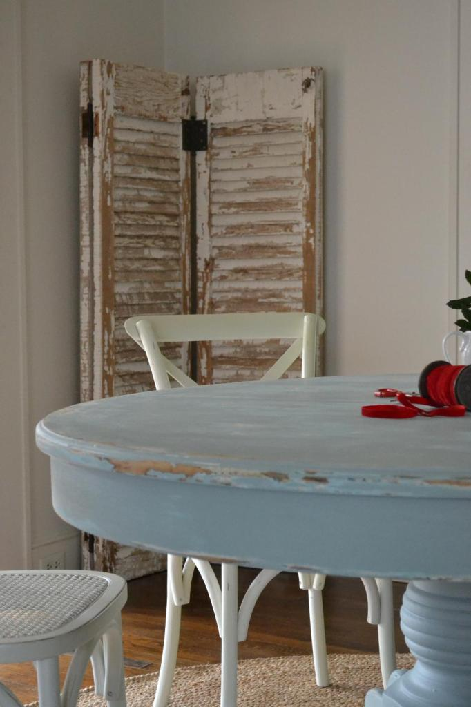 Cottage Fix - dining table painted silvery blue