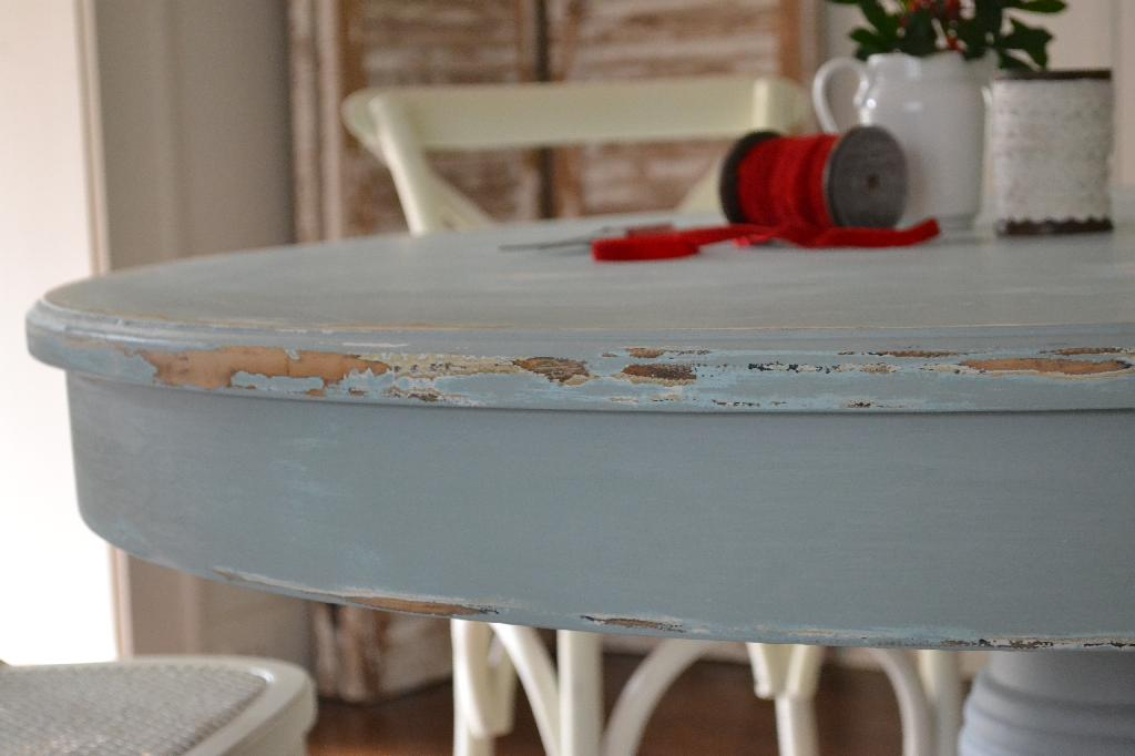 Cottage Fix - shabby silvery blue dining table