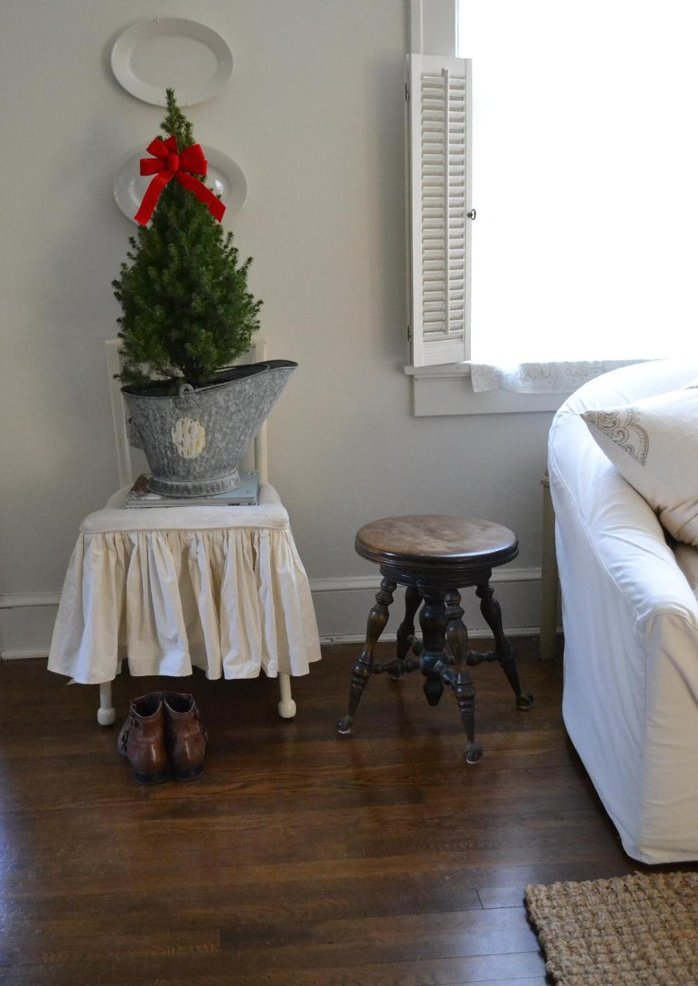 Cottage Fix- potted Christmas tree in our living room