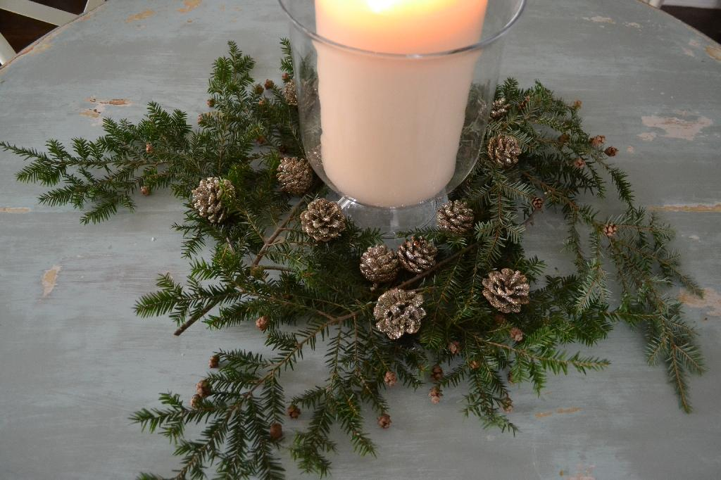 Cottage Fix - Christmas centerpiece of fresh greenery and glitzy pine cones