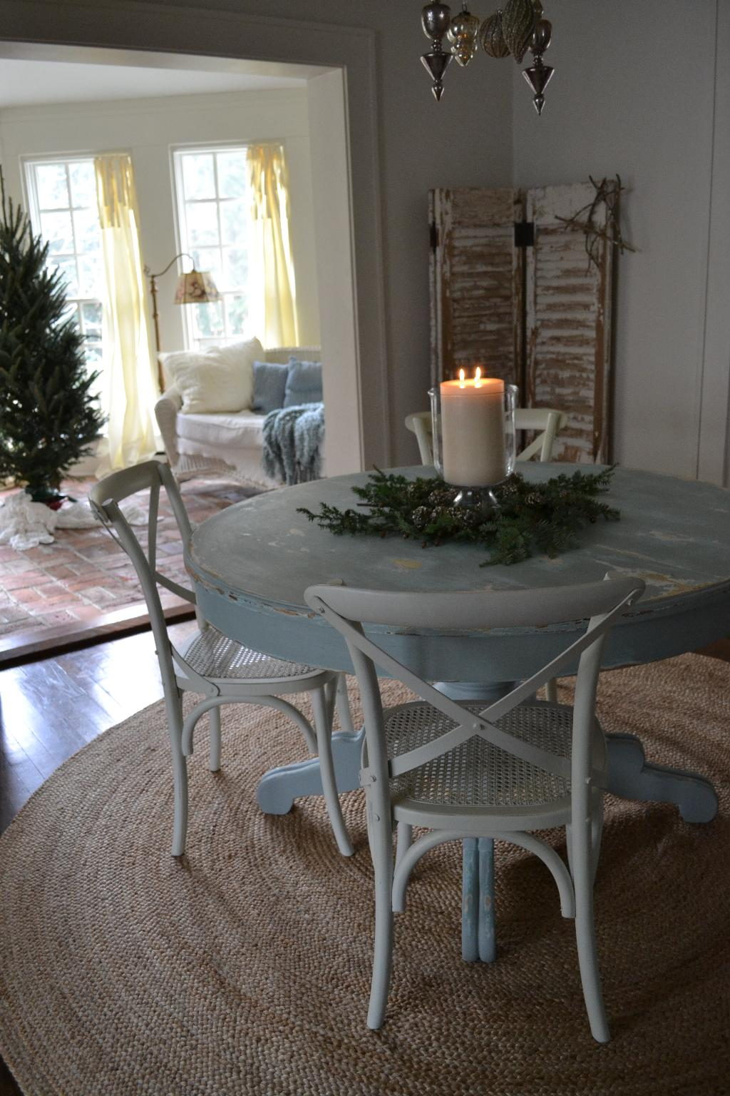 Cottage Fix - dining room and sun porch at Christmastime