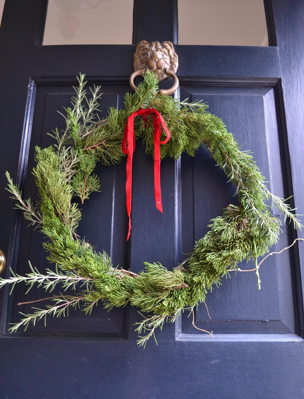 Cottage Fix - Christmas wreath of juniper and rosemary fresh from the garden