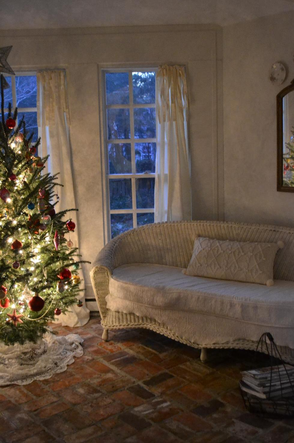 Cottage Fix - the Christmas tree on the sun porch