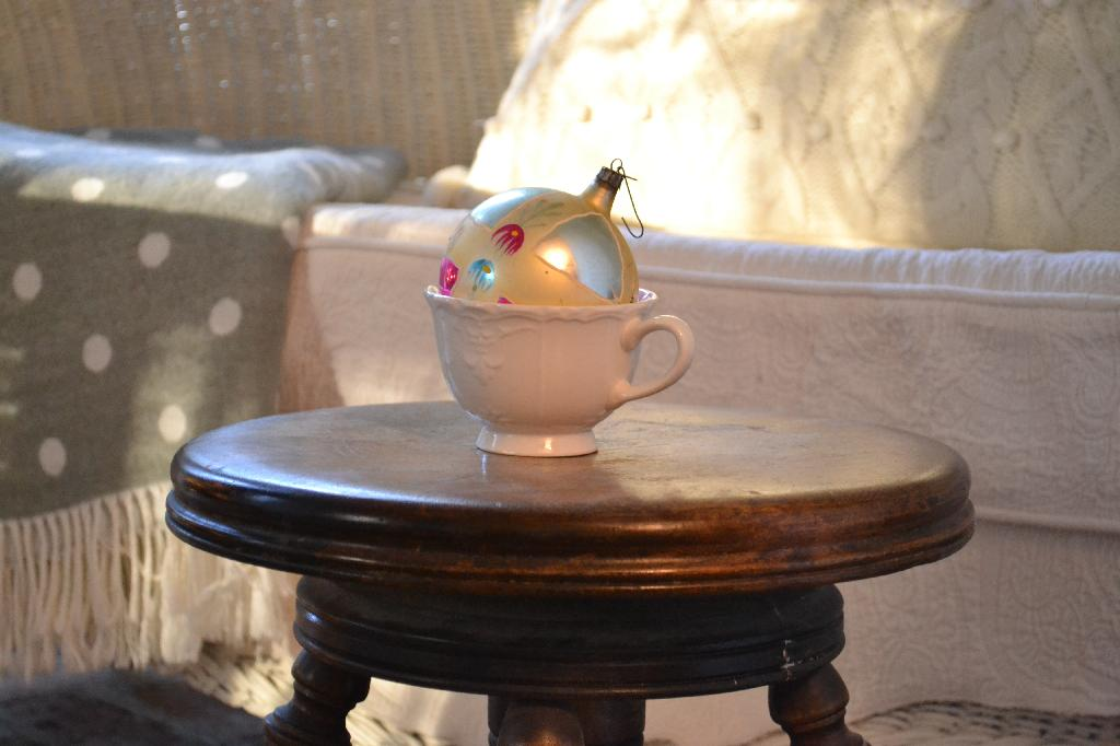 Cottage Fix - vintage bauble in a teacup