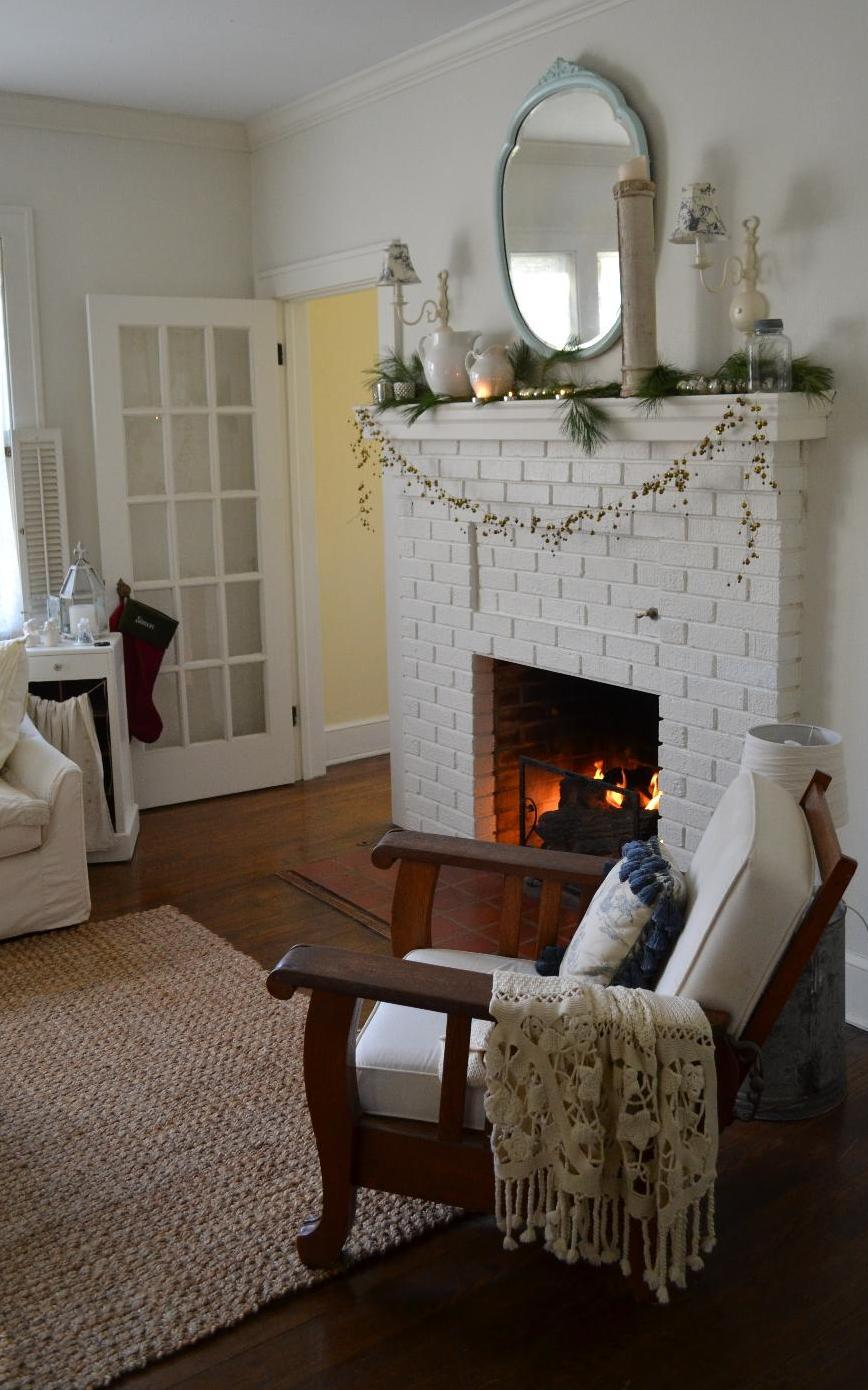 Cottage Fix - living room with fresh pine on the mantle