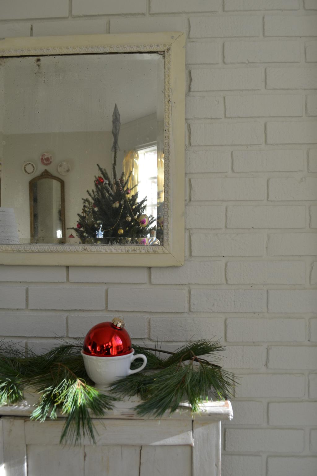 Cottage Fix - red bauble in a teacup