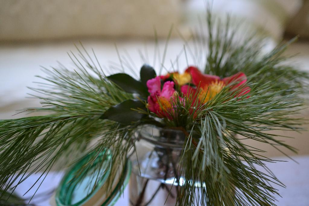 Cottage Fix - pine and camellias from the garden