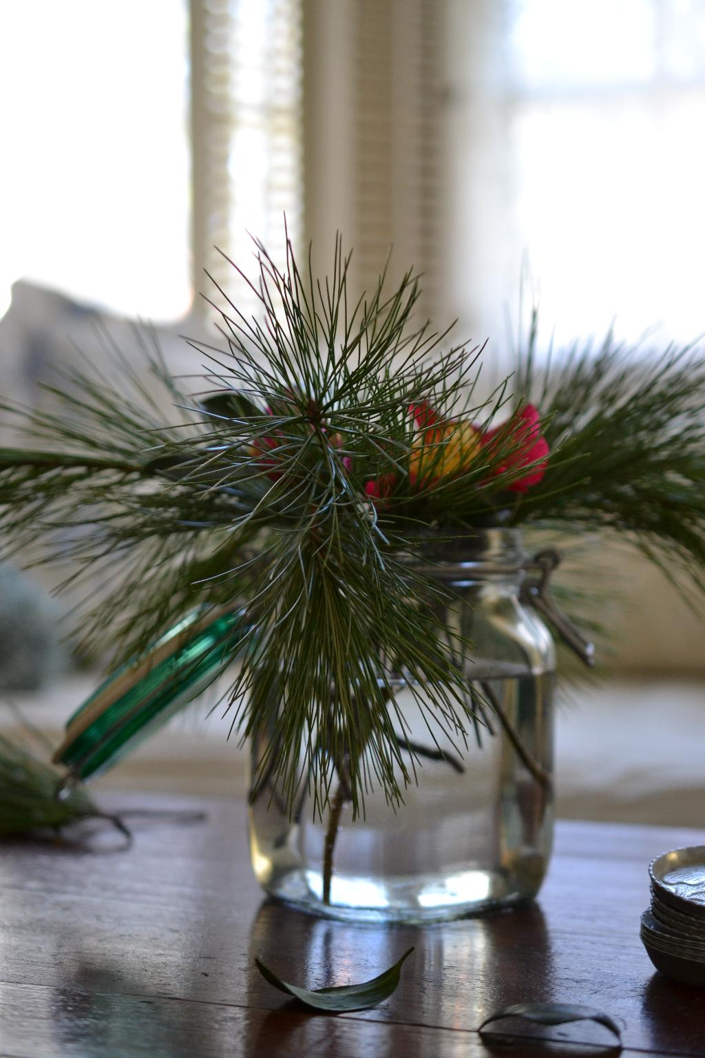 Cottage Fix - fresh pine in a vintage Italian canning jar