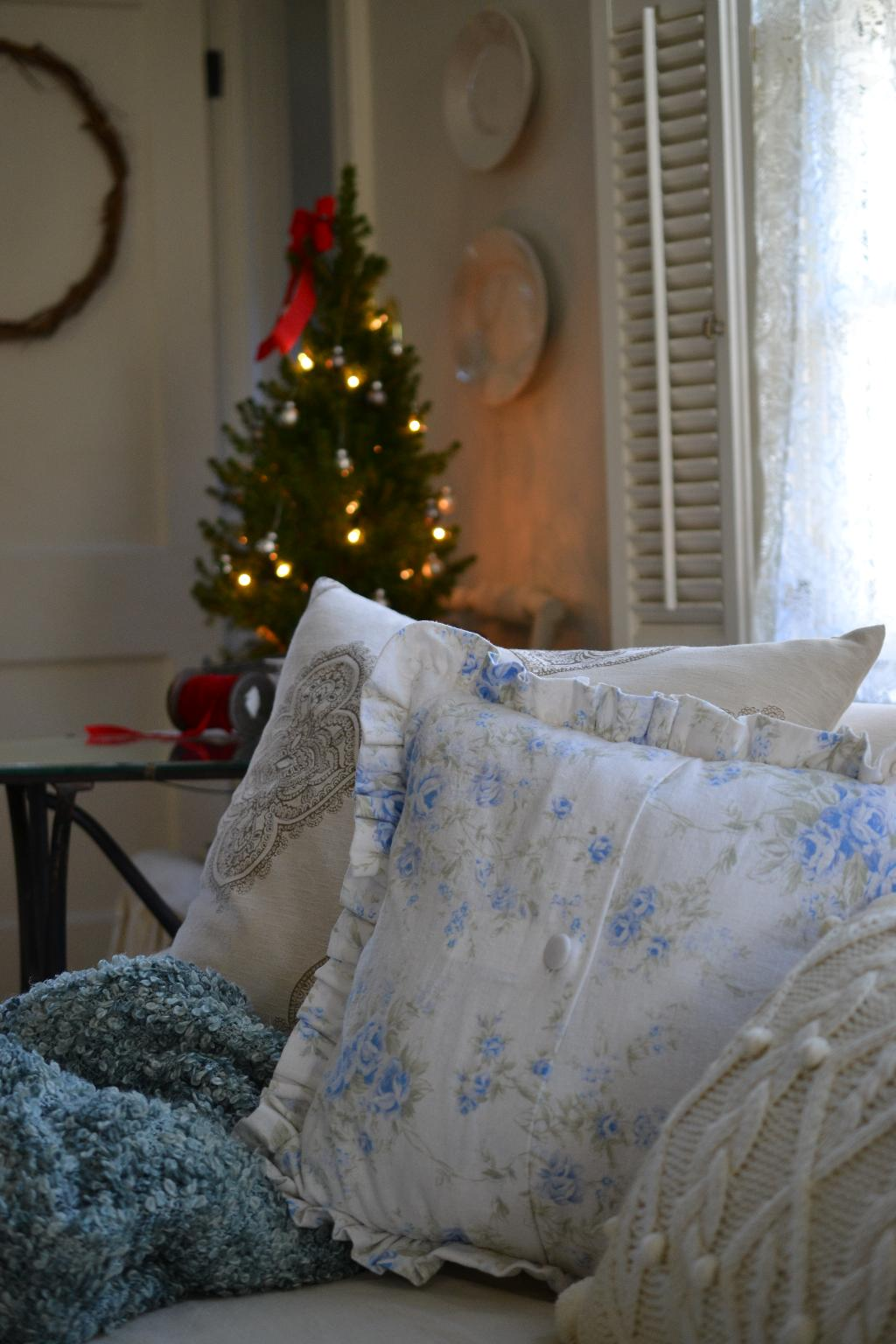 Cottage Fix - shabby chic pillows and the tiny tree