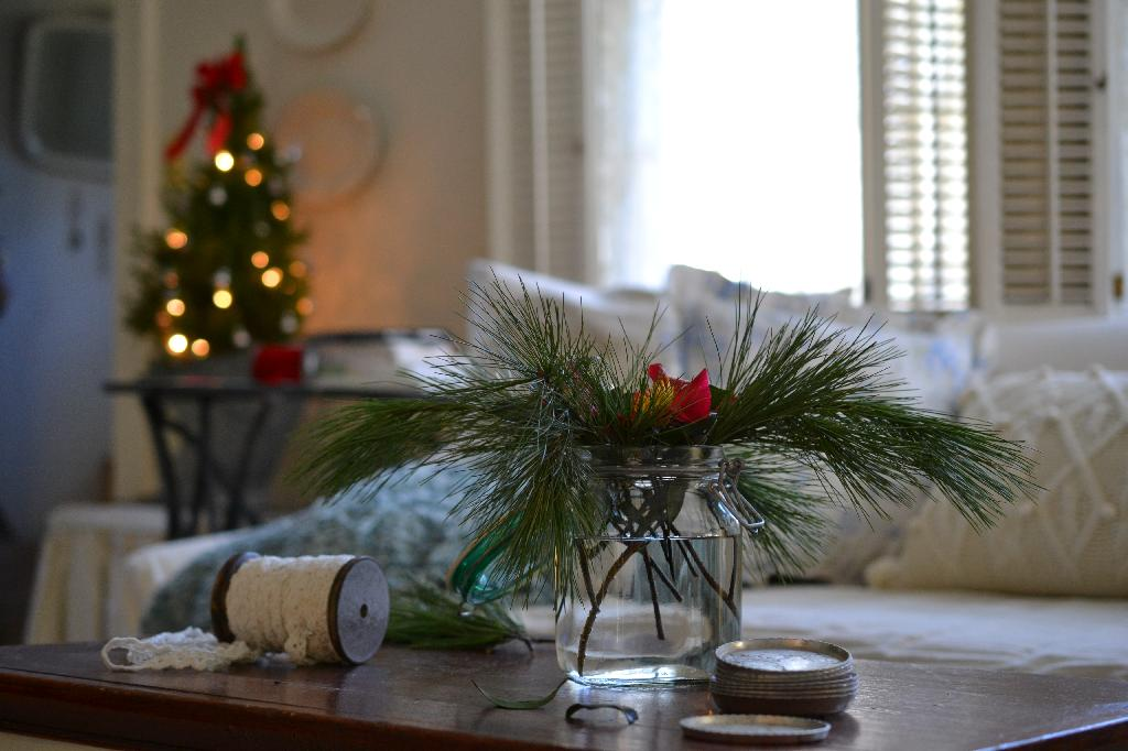 Cottage Fix - jar of pine and Christmastime