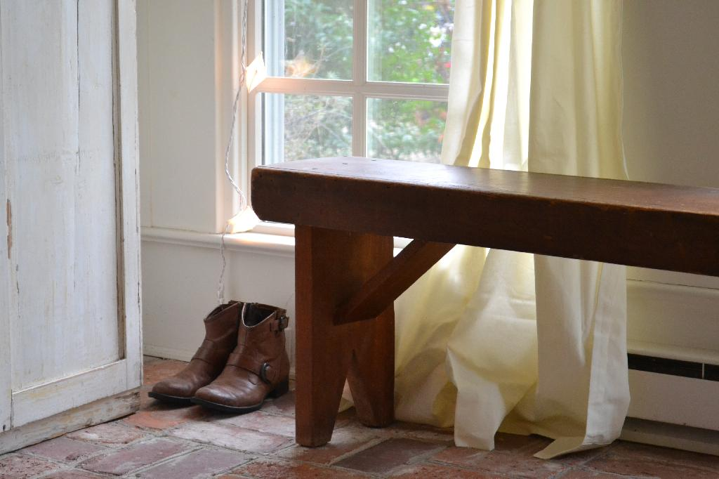 Cottage Fix - boots and a bench