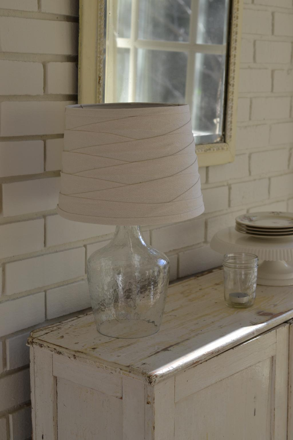 Cottage Fix - glass lamp with ivory shade
