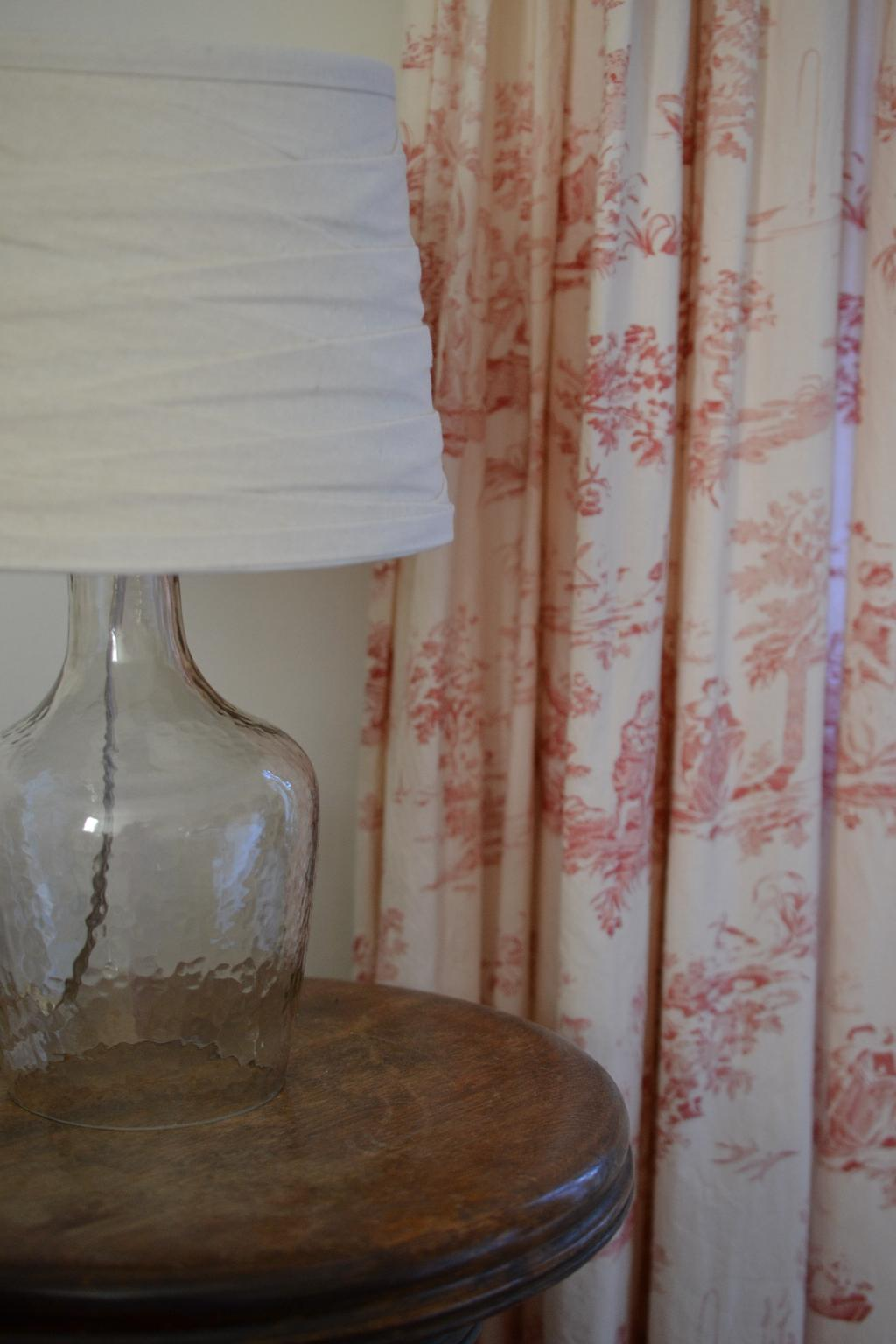 Cottage Fix - glass lamp and toile drapes