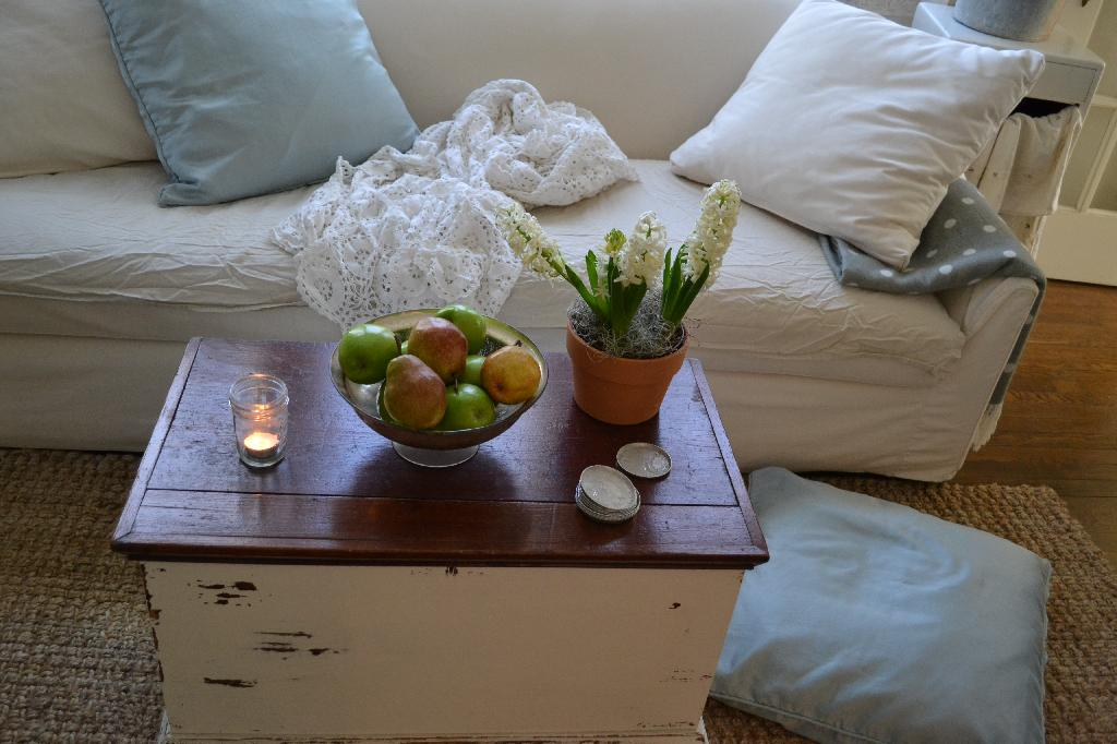 Cottage Fix - coffee table trunk with hyacinth and fruit