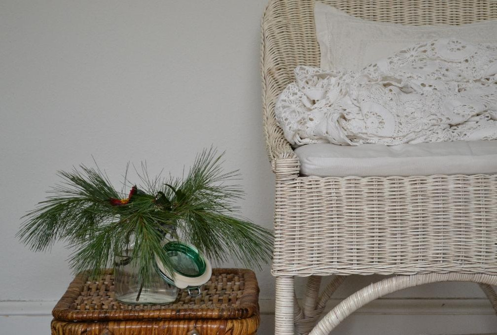 Cottage Fix - winter whites and pine