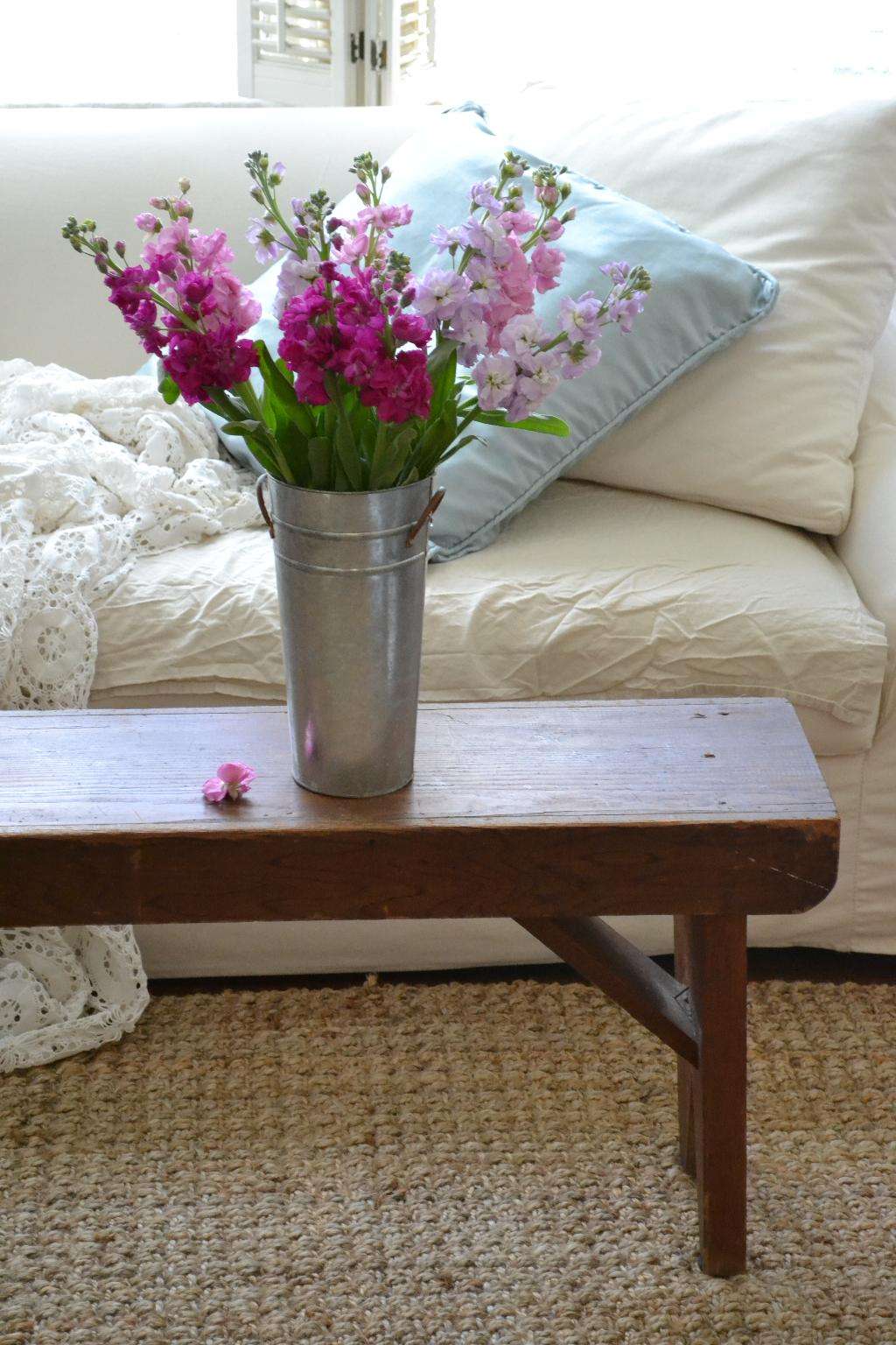 Cottage Fix - farm house bench and market flowers