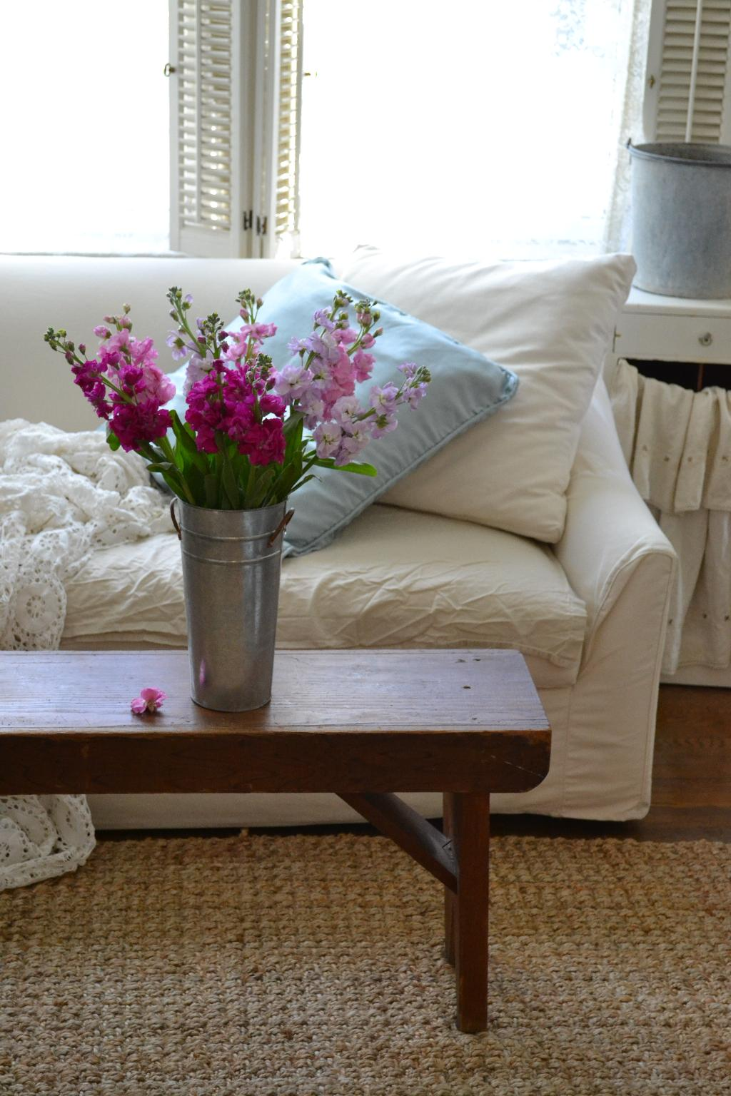 Cottage Fix - farm house bench and market blooms
