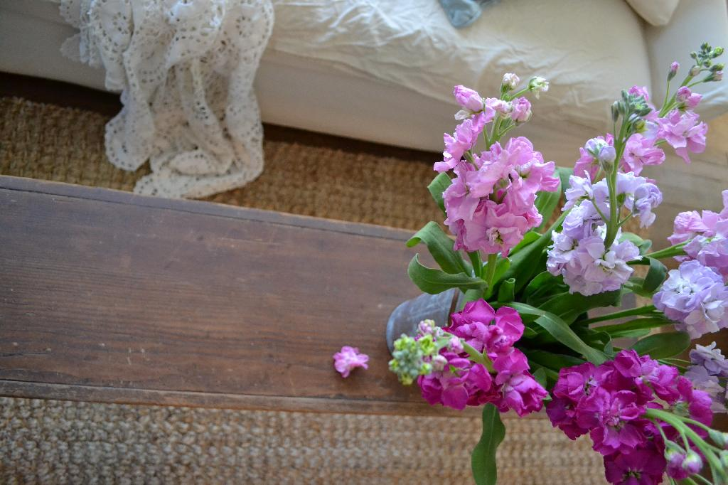 Cottage Fix - pink and purple blooms and weathered wood