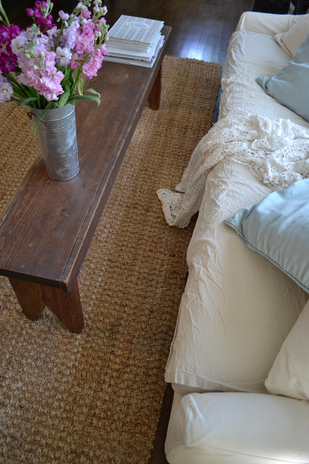 Cottage Fix blog - farm bench coffee table