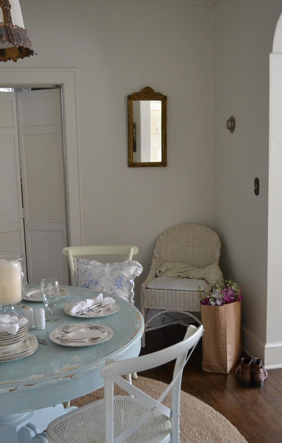 Cottage Fix - blue distressed table, French inspired mirror, and flowers from the market