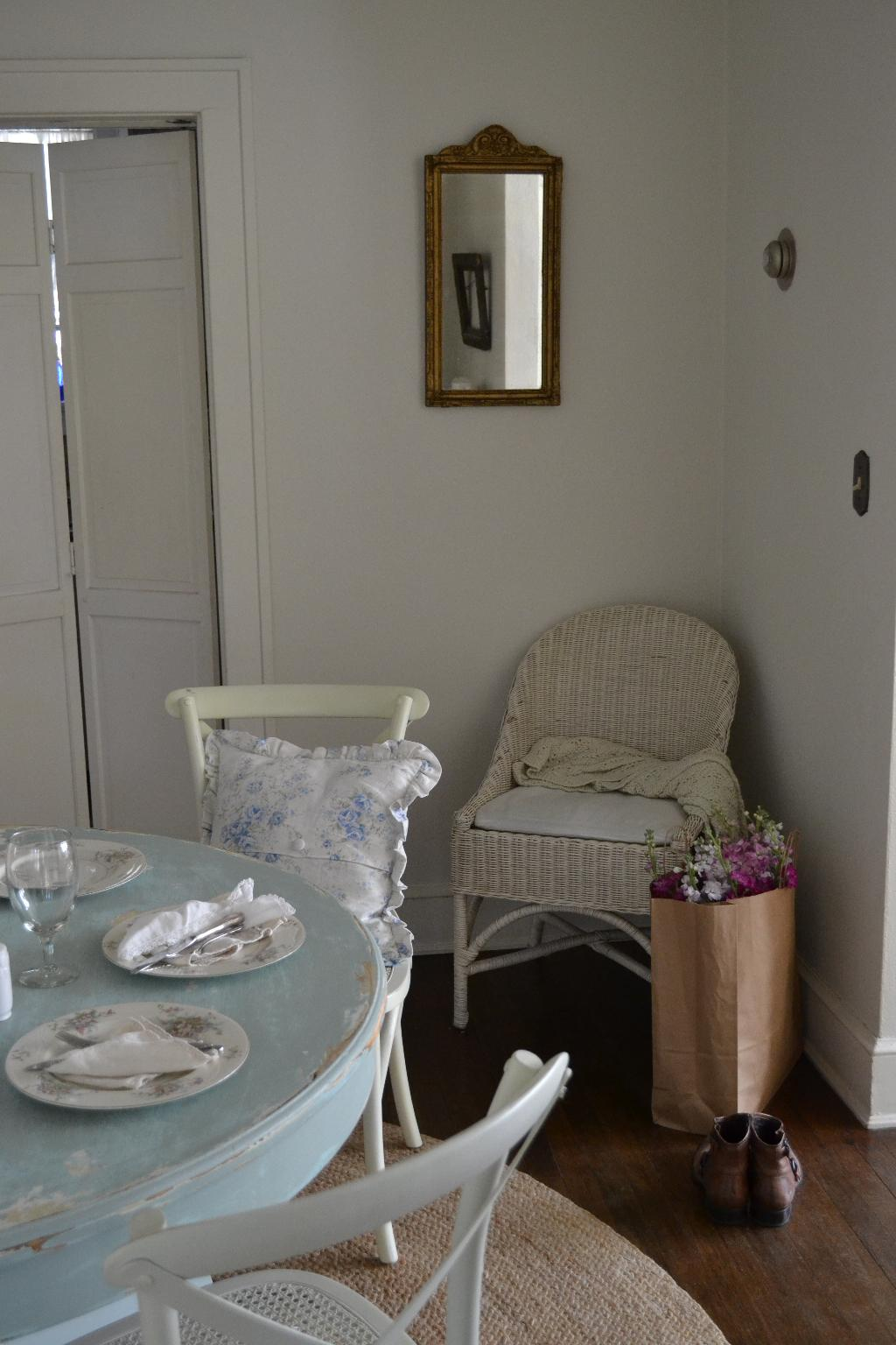 Cottage Fix - blue distressed table and French inspired mirror