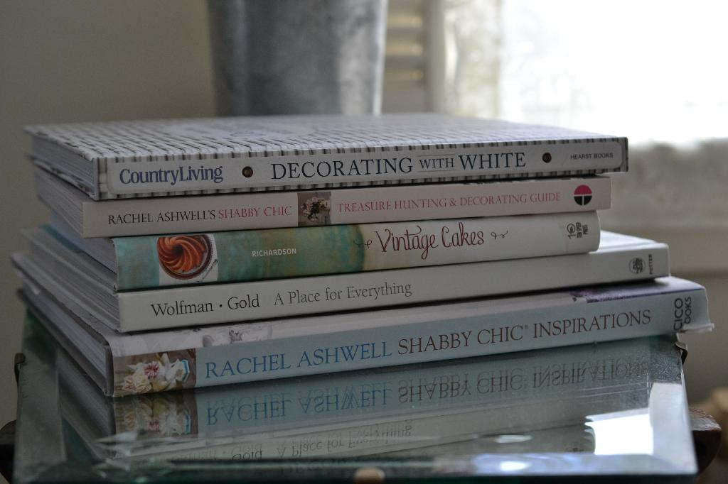 Cottage Fix - stack of decorating books