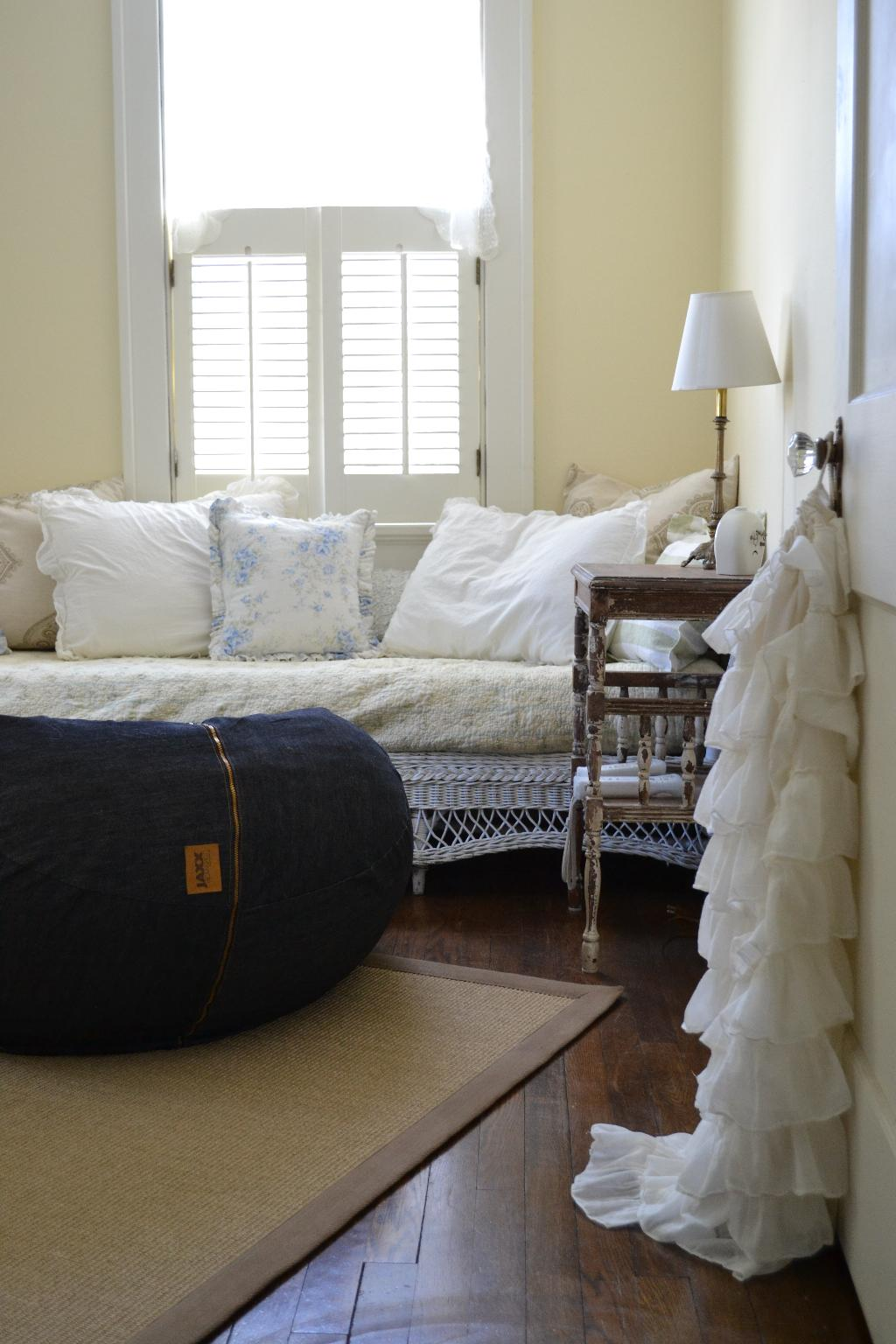 Cottage Fix - JAXX denim beanbag, wicker daybed, and ruffled tote