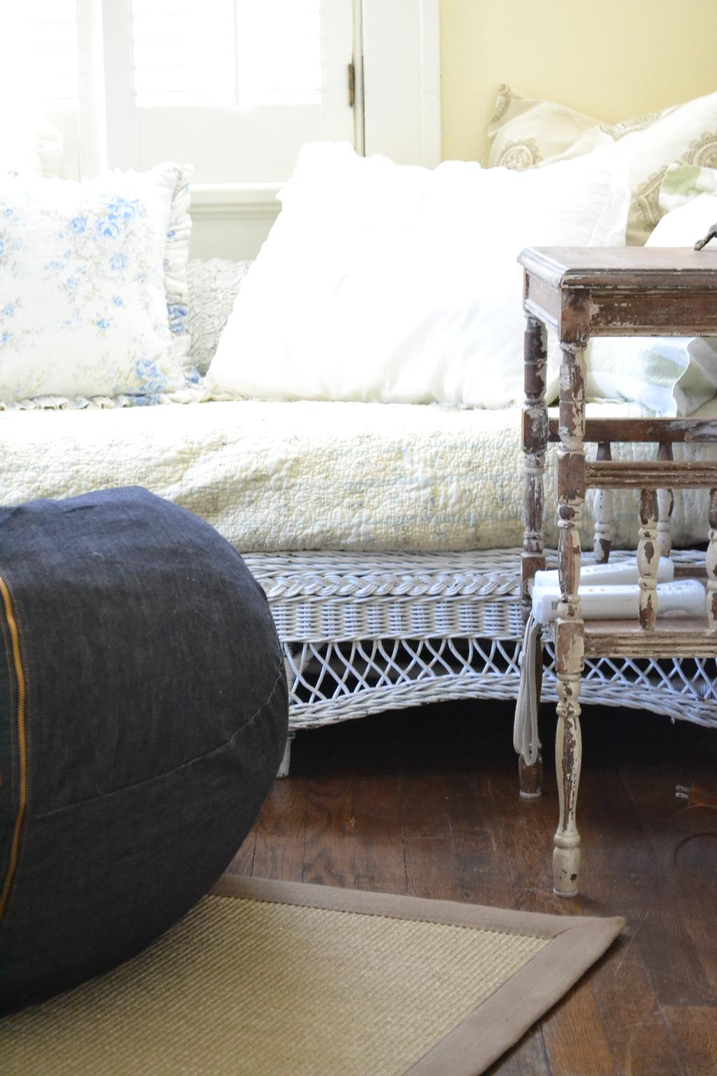 Cottage Fix - denim beanbag and weathered wood side table