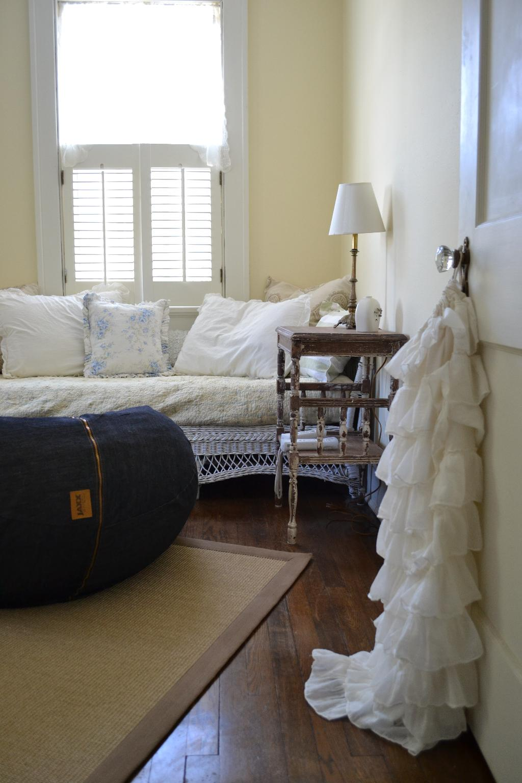 Cottage Fix - denim beanbag, wicker daybed, and ruffled tote