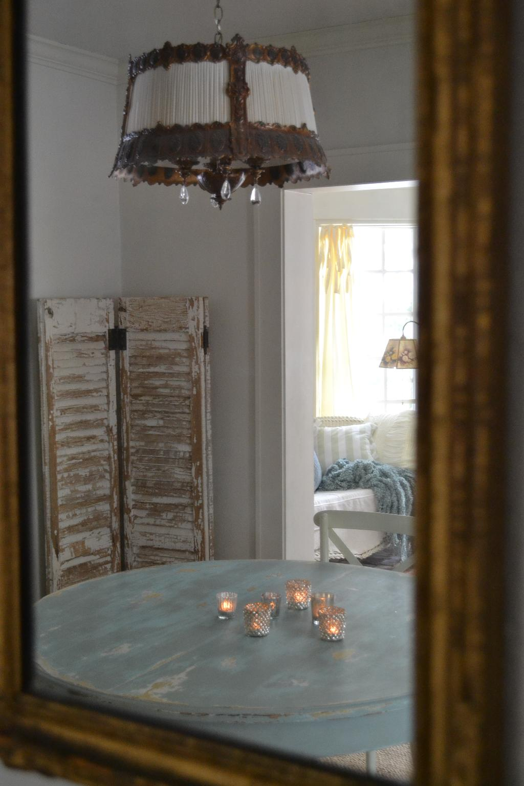Cottage Fix - tea lights, mercury glass, shabby blue dining table
