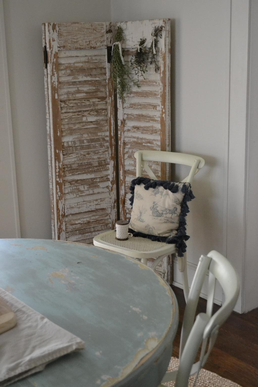 Cottage Fix - chippy shutters, herb bouquet, and blue shabby table