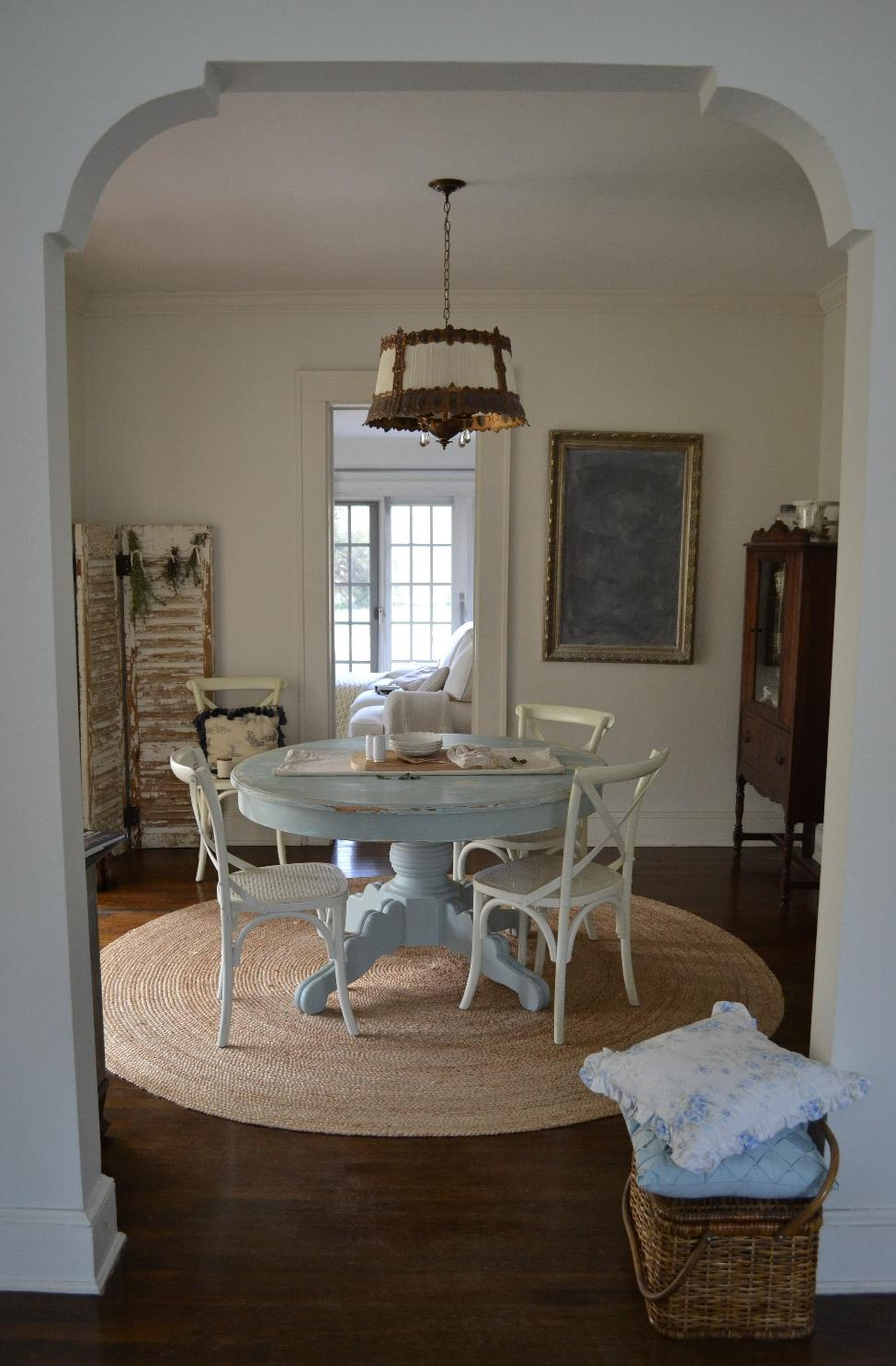 Cottage Fix - dining room with blue shabby table, chippy shutters, and herb  bouquets