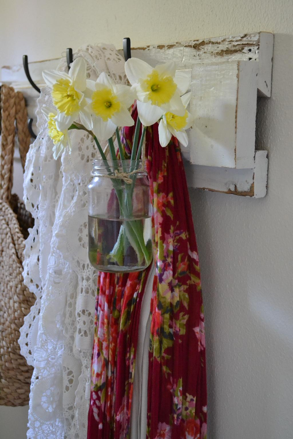Cottage Fix - daffodils on a row of hooks