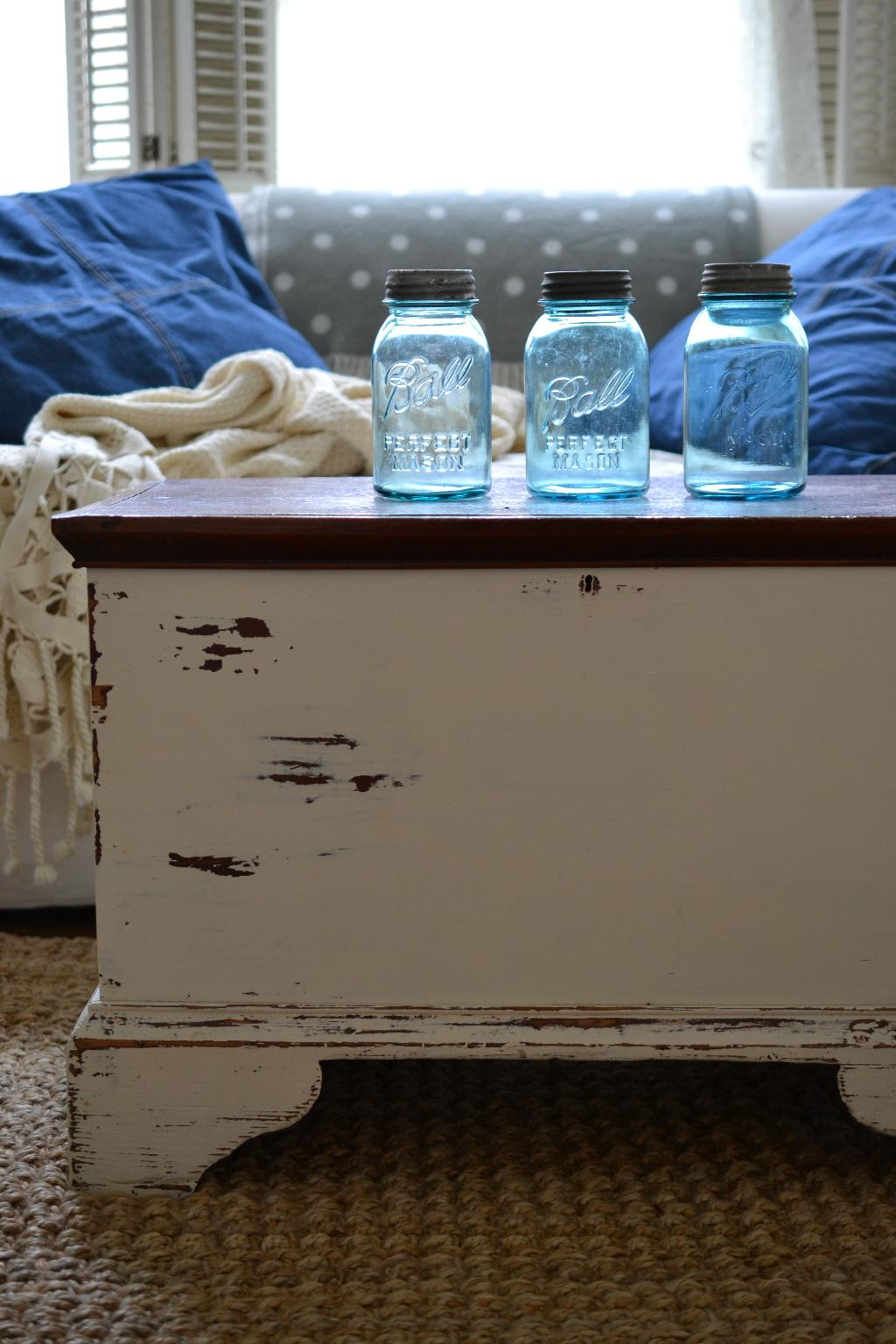 Cottage Fix blog - blue Ball jars on a chippy white chest
