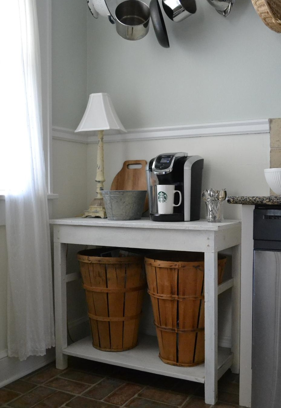 Cottage Fix blog - kitchen coffee station with rustic crate basket storage