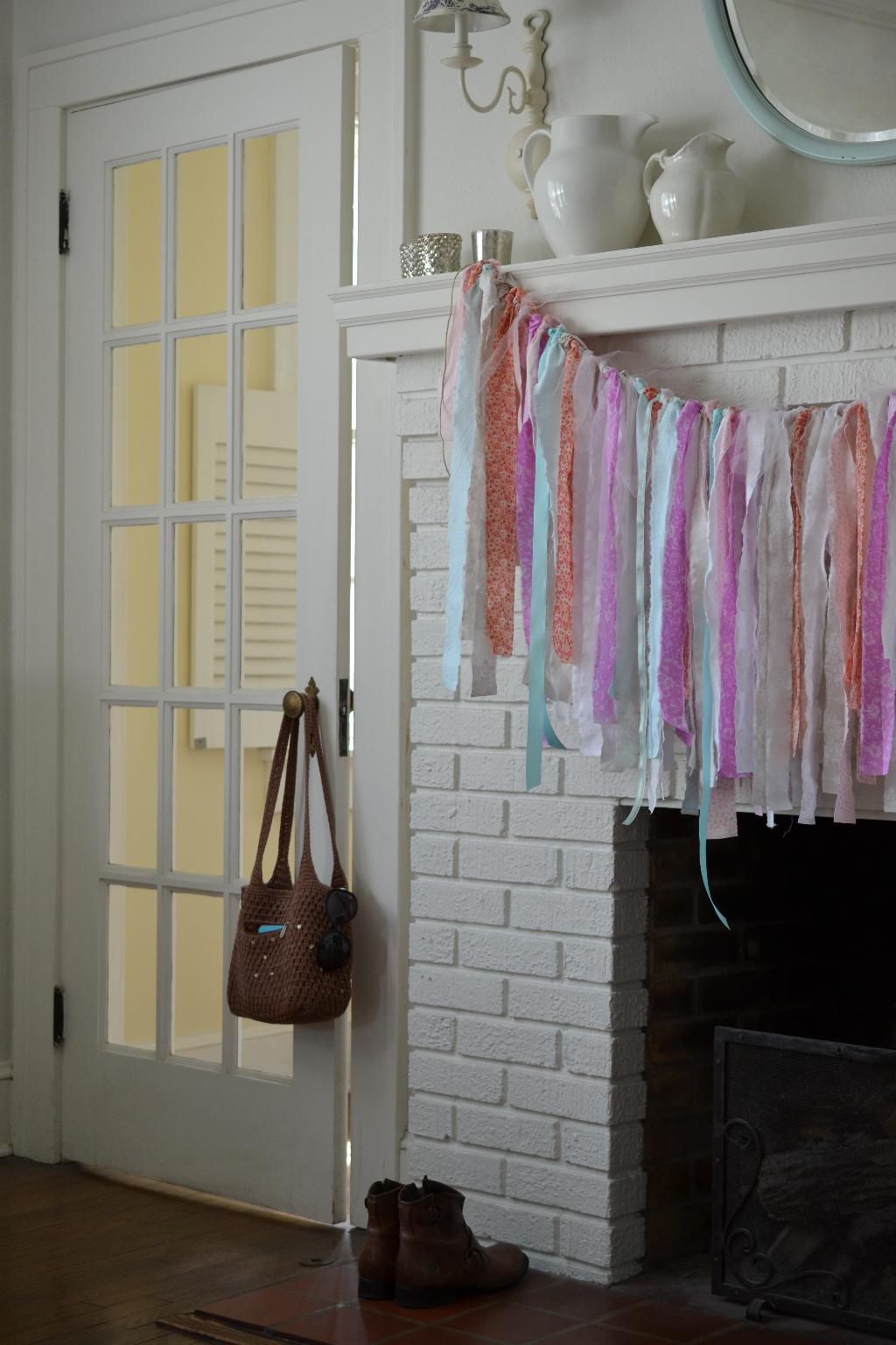 Cottage Fix - boho garland hanging on the mantle