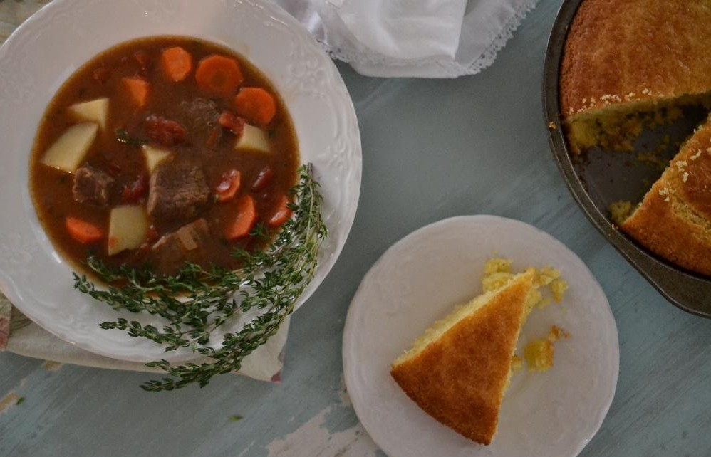 Cottage Fix - Guinness beef stew and cornbread