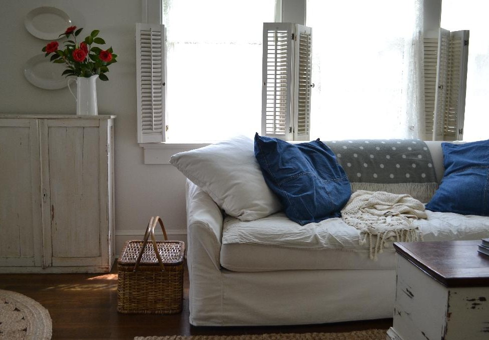 Cottage Fix blog - warm whites, comfy sofa, and denim shams