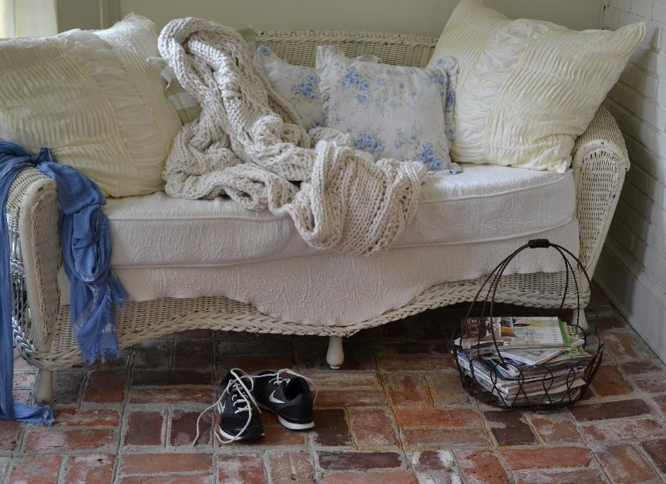 Cottage Fix blog - Pottery Barn cable knit throw and wicker
