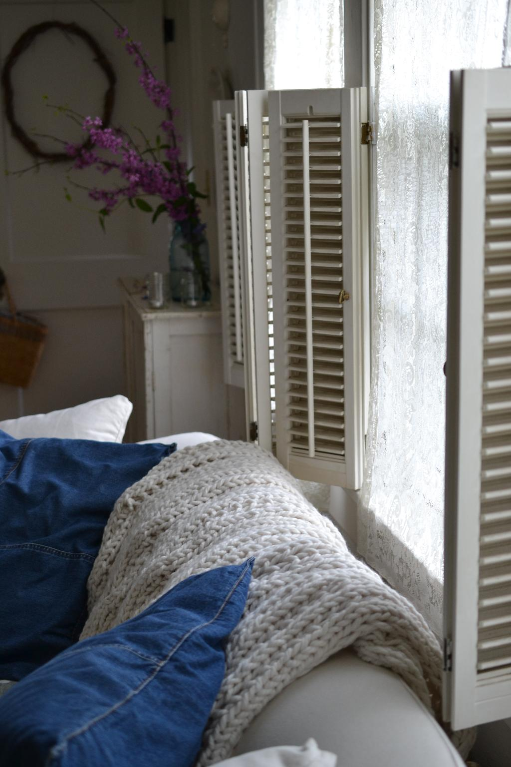 Cottage Fix blog - Pottery barn cable knit throw and shutters