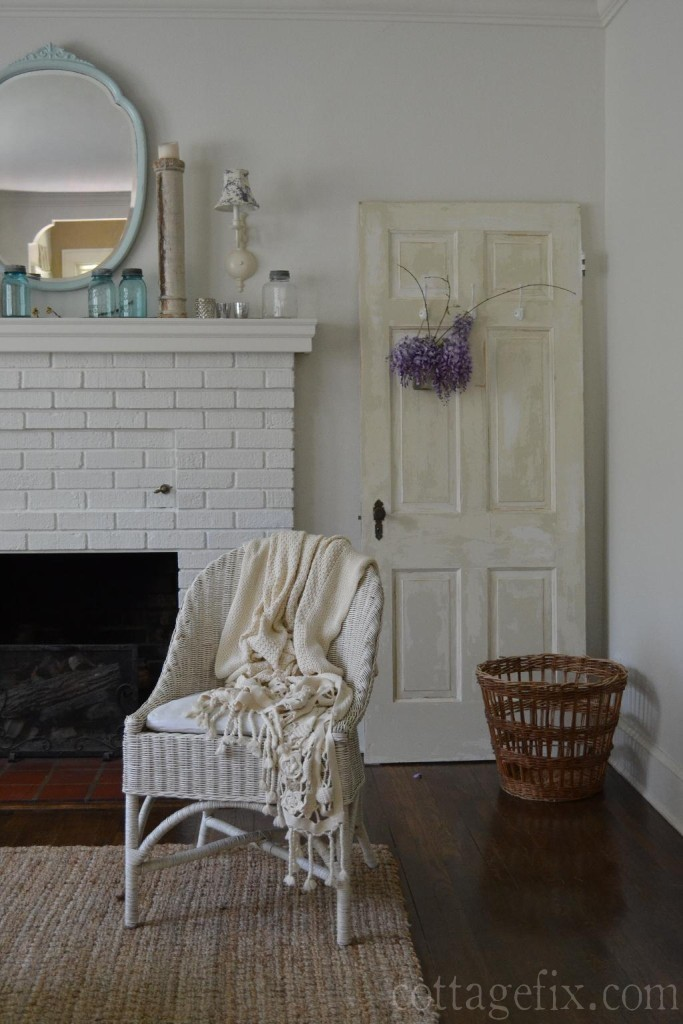 Cottage Fix blog - wicker, chippy door, and wisteria