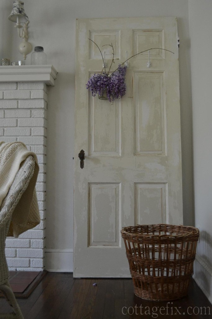 Cottage Fix blog - chippy door, wisteria, and French inspired basket