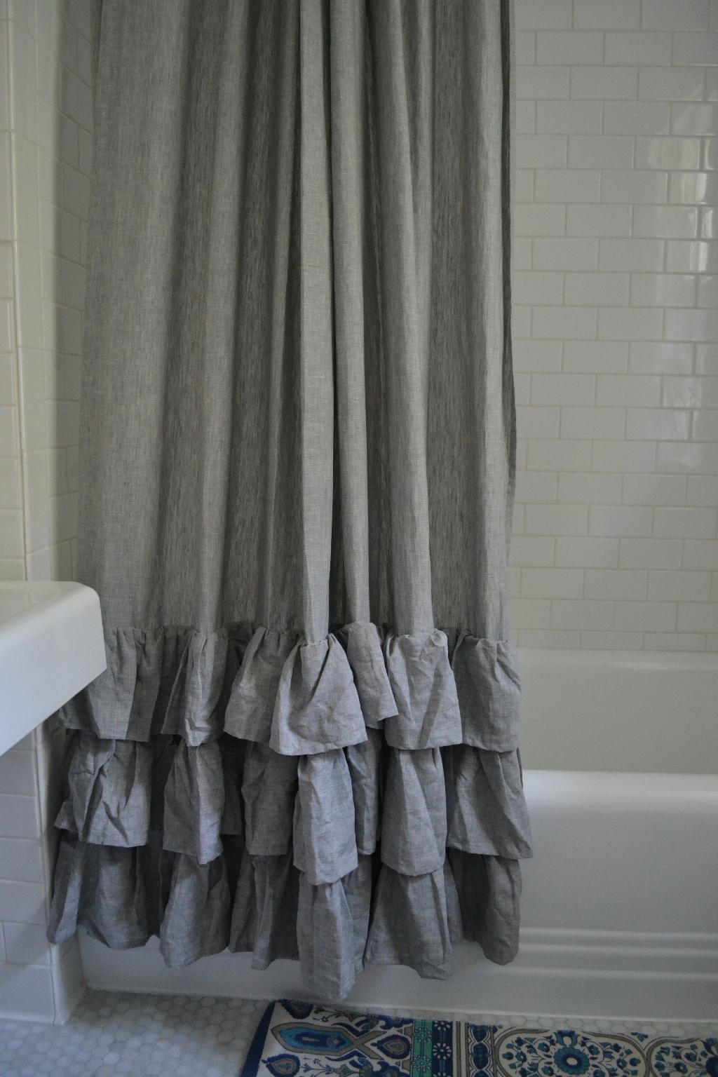 Grey Linen Shower Curtain. Shower Curtain CollectionCotton Linen ...