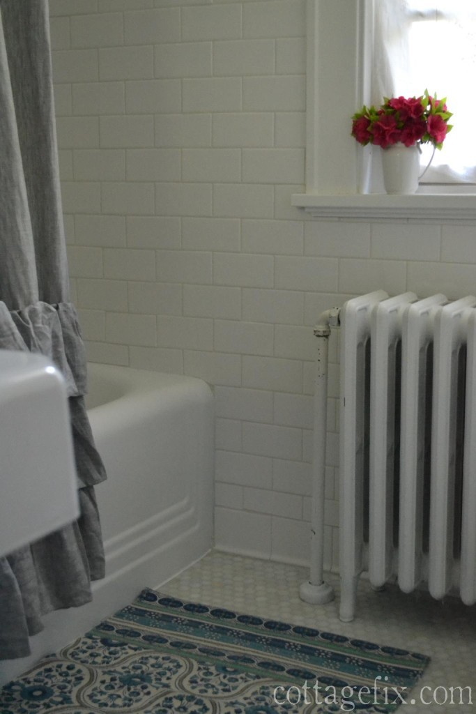 Cottage Fix blog - cottage style bathroom remodel with white subway and marble hex