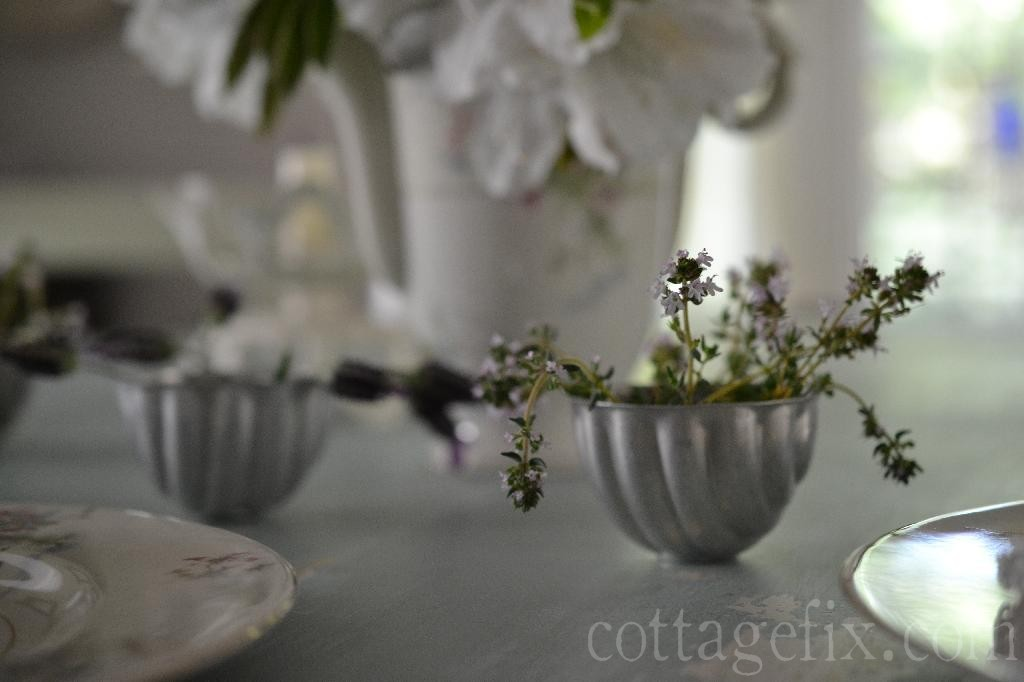 Cottage Fix blog - thyme blooms in a vintage mold