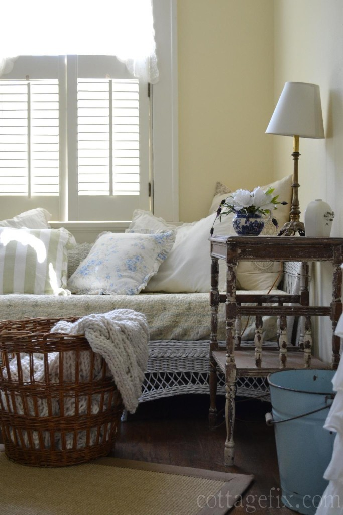 Cottage Fix blog - white azaleas and lavender in the guest room
