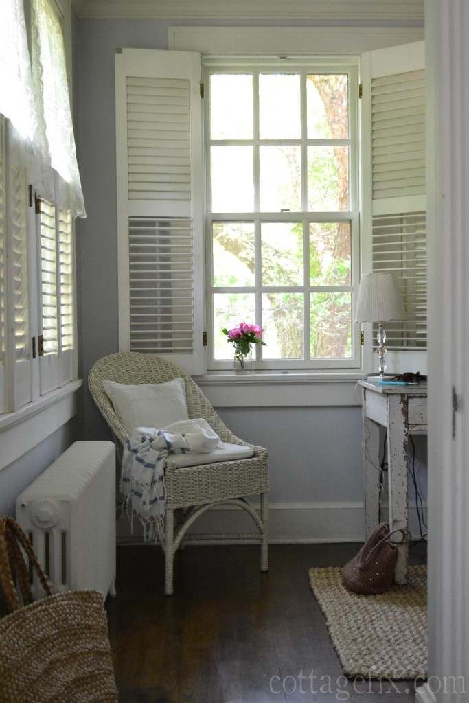 Cottage Fix blog - silvery gray wall paint in the cottage office